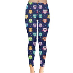 Navy Tone Colorful Owls Pattern Leggings