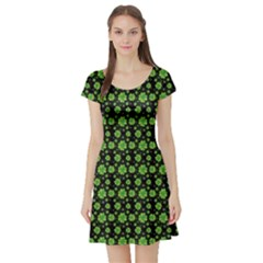Green Shamrock Pattern Black Short Sleeve Skater Dress by CoolDesigns