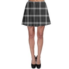 Black Tartan Plaid Pattern Skater Skirt by CoolDesigns