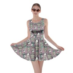 Gray Owl Pattern Skater Dress by CoolDesigns