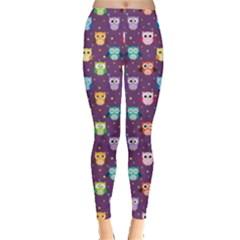 Purple Tone Colorful Owls Pattern Leggings
