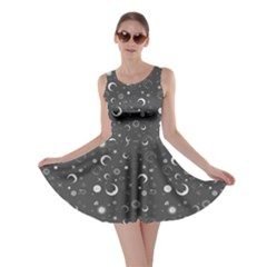 Dark Gray Fun Night Sky The Moon And Stars Skater Dress