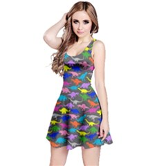 Colorful 2 A Pattern With Dinosaur Silhouettes Sleeveless Dress