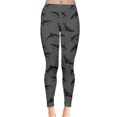 Dark Gray Shark Leggings  by CoolDesigns
