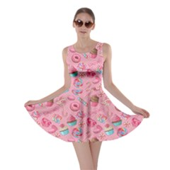 Pink2 Yummy Colorful Sweet Lollipop Candy Macaroon Cupcake Donut Seamless Skater Dress by CoolDesigns
