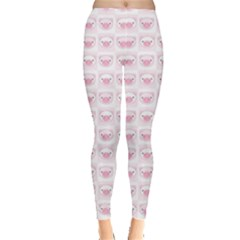 Pink Cute Pig Pattern With Pink Pig Faces Women s Leggings by CoolDesigns