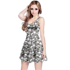 White & Grey Grunge Skulls Pattern Sleeveless Skater Dress by CoolDesigns