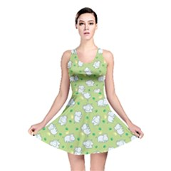 Green Happy Hippo With Friendly Bird Pattern Reversible Skater Dress by CoolDesigns