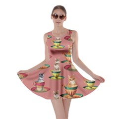 Afternoon Tea Cat Coral Skater Dress by CoolDesigns