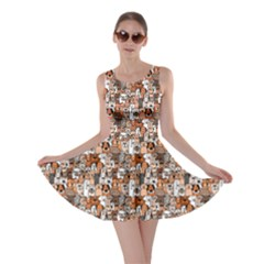 Colorful Doodle Dogs And Cats Pattern Skater Dress by CoolDesigns