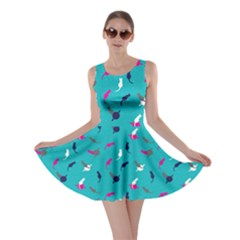 Aqua Space With Cats Saturn And Stars Skater Dress