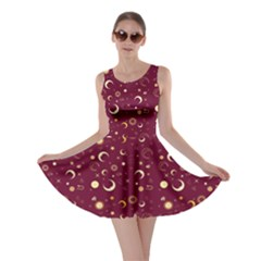 Wine Fun Night Sky The Moon And Stars Skater Dress by CoolDesigns