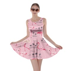 Pink Flamingo Bird Pattern Skater Dress by CoolDesigns