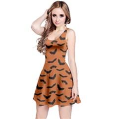 Orange Orange Halloween With Flying Bats Sleeveless Skater Dress