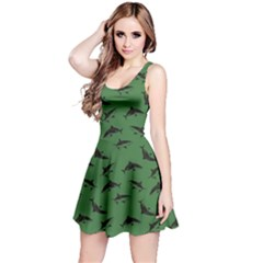 Green Sharks Pattern Reversible Sleeveless Dress