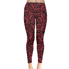 Black Red Skulls Pattern Geometric Contemporary Style Repeating Women s Leggings by CoolDesigns