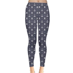 Blue Pattern Anchors And Skulls Leggings
