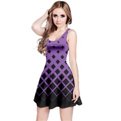 Purple & Black Gradient With Black Rhombuses Sleeveless Skater Dress