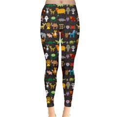 Black Set Of Funny Cartoon Animals Character On Black Zoo Leggings by CoolDesigns