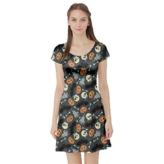 Colorful Halloween Pattern With Pumkins Bats And Skulls Short Sleeve Skater Dress by CoolDesigns
