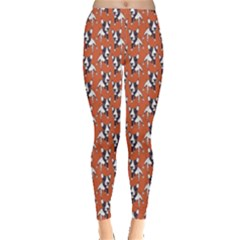 Red Cartoon Bull Terrier Pattern Leggings by CoolDesigns