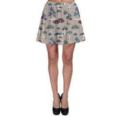 Blue Colorful Mushrooms Pattern Skater Skirt by CoolDesigns