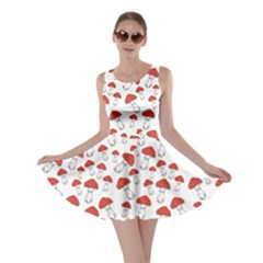 Red Fly Agaric Mushrooms Pattern Skater Dress by CoolDesigns