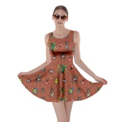 Dark Brown Pattern With Watercolor Beetles Skater Dress  by CoolDesigns