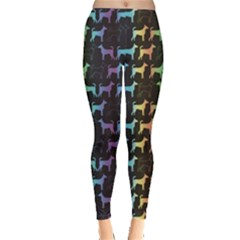 Colorful Bright Spectrum Pattern Of Dog Silhouettes On Black Women s Leggings by CoolDesigns