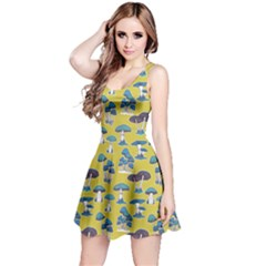 Dark Yellow Mushrooms Pattern Sleeveless Dress  by CoolDesigns