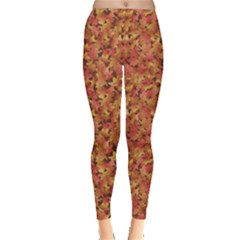 Brown Pattern Fallen Autumn Warm Shades Leaves Leggings