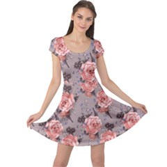 Purple Vintage With Roses Cap Sleeve Dress by CoolDesigns