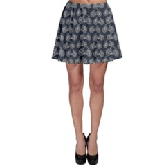 Blue Pattern With Outline Vintage Bicycles Skater Skirt
