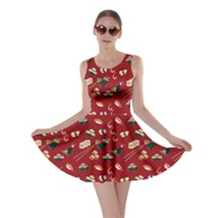 Red Japanese Food Sushi Pattern Skater Dress by CoolDesigns