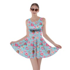 Sky Blue Lollipop Candy Macaroon Cupcake Donut Skater Dress by CoolDesigns