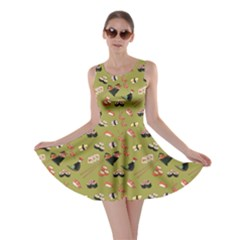 Olive Japanese Food Sushi Pattern Skater Dress  by CoolDesigns