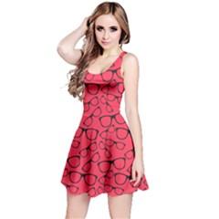 Red Glasses Retro Sunglasses Sleeveless Skater Dress