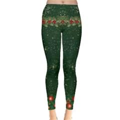 Green Xmas Leggings  by CoolDesigns