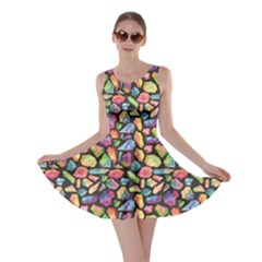 Colorful Colorful Watercolor Gem Pattern Skater Dress