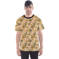 Colorful Vegetable Organic Food Yellow Corn Stalk Pattern Men s Sport Mesh Tee