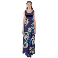 Dark Purple Floral Empire Waist Maxi Dress by CoolDesigns