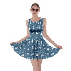 Teal Lovely Cats Pattern Skater Dress by CoolDesigns