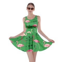 Green Flamingo Bird Pattern Skater Dress by CoolDesigns