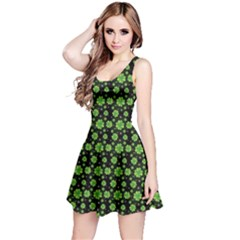 Green Shamrock Pattern Black Sleeveless Dress