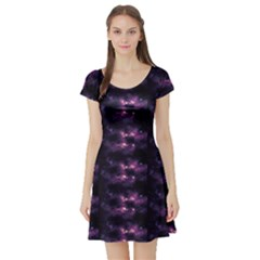 Dark Photorealistic Galaxy Design Short Sleeve Skater Dress by CoolDesigns