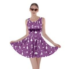 Purple Lovely Cats Pattern Skater Dress by CoolDesigns