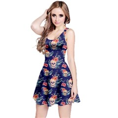 Navy Skull With Flowers Reversible Sleeveless Dress