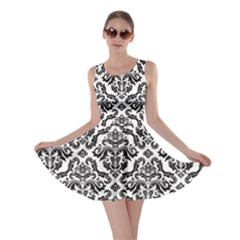 Black Oriental Fine Pattern With Damask Arabesque And Floral Skater Dress by CoolDesigns