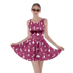 Burgundy Lovely Cats Pattern Skater Dress by CoolDesigns