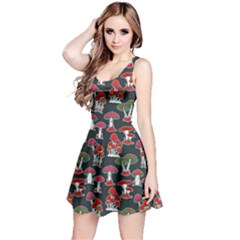 Black Mushrooms Pattern Sleeveless Dress